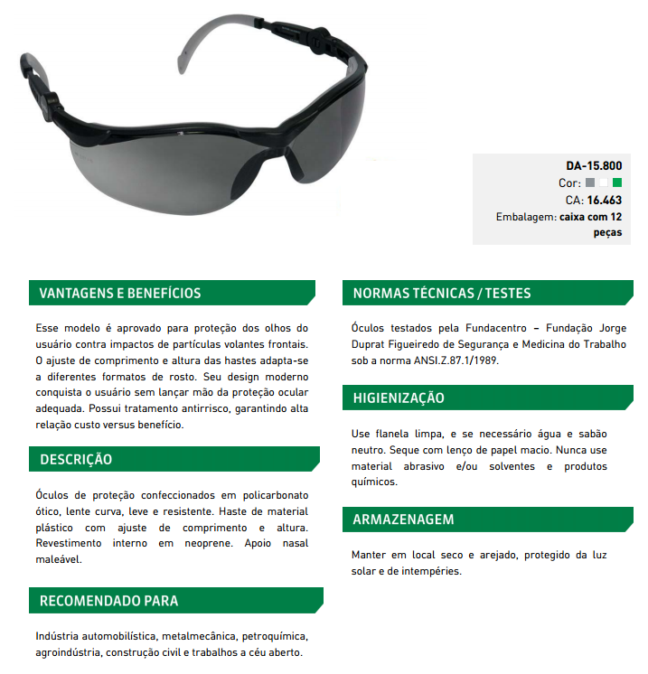 Óculos de proteção apollo Danny 6a0ef65612